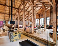 What an amazing layout with exposed wood beams. Alpine dream cabin in the French Mountains.