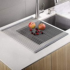 """Amazon.com: EMBATHER - Sturdy Extra Large Multipurpose -No Occupying Space Easily Store Heat Resistant Roll Up Dish Drying Rack - Fit for Stainless Steel Sink (20.8"""" x 18.1"""", Warm Gray): Kitchen & Dining"""