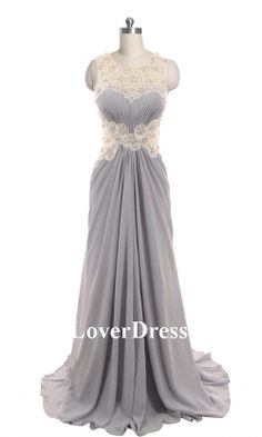 Gray Prom Dress Lace Back Long Dress Lace Prom by LoverDress, $160.00