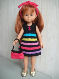 ROBE MULTICOLORE                                                       … Knitting Dolls Clothes, Crochet Doll Clothes, Knitted Dolls, Girl Doll Clothes, Barbie Clothes, Girl Dolls, Crochet Baby, Knit Crochet, Nancy Doll