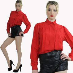 Vintage Secretary Blouse top shirt Pleated by SHABBYBABEVINTAGE, $29.99