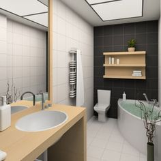 Putting shelves above the toilet and bathtub helps create a stylish space to store hand towels and your favorite soap or lotion.  - GoodHousekeeping.com