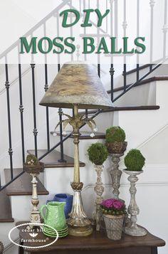 DIY Project - Moss Balls - Cedar Hill Farmhouse #countryfrench #decor #decoratingideas #decorating #decoratingtips #frenchcountrydecor #frenchcountrystyle