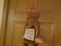 Primitive Grungy Fall Halloween Pumpkin Doll ~~~~EAAM~~~~ #NaivePrimitive