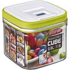 "Curver ""Grand Chef Cube"" Food Container, Transparent/White/Green, 0.8 Litre"