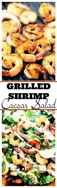 Crunchy and creamy classic caesar salad tossed with juicy grilled shrimp, garlic croutons, and a lightened-up, homemade caesar salad dressing.