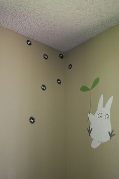 Totoro and soot sprite wall art! I will make a Miyazaki mural in my home. Totoro Nursery, Totoro Bedroom, Deco Kids, My Neighbor Totoro, Deco Design, New Room, Studio Ghibli, Kids Room, Child Room