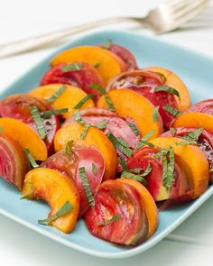 Tomato & peach salad w/ fresh mint & aged balsamic vinegar. I don't have mint...what other herb would be good. Parsley?