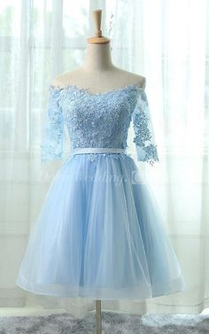 US$78.29 – Off the Shoulder Half Sleeve A-line Short Prom Dress. www.doriswedding..... Made to measure at no extra cost & Free Shipping! Sequin prom dress, beaded prom dress, vintage prom dress 2017, two-pieces prom dress, high neckline prom dress, satin prom dress, long prom dress, elegant prom dress, follow us to get more special offer! #DorisWedding.com