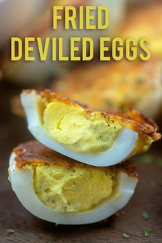 fried deviled eggs are coated in a bit of Parmesan cheese to add crunch!These fried deviled eggs are coated in a bit of Parmesan cheese to add crunch! Low Carb Appetizers, Appetizer Recipes, Snack Recipes, Cooking Recipes, Cajun Appetizers, Breakfast Recipes, Fried Deviled Eggs, Deviled Eggs Recipe, Hash Browns