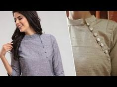 New top design cutting and stiching /kurta /short top/collar neck Neck Designs For Suits, Sleeves Designs For Dresses, Back Neck Designs, Blouse Neck Designs, Collar Designs, Short Kurti Designs, Simple Kurti Designs, Kurta Designs Women, Collar Kurti Design