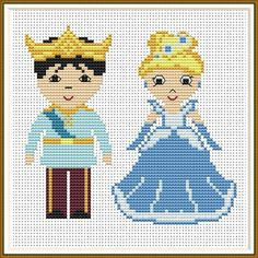 Cross stitch pattern Princess and Prince Cute tiny princess Wedding Cross Stitch Patterns, Modern Cross Stitch Patterns, Cross Stitch Designs, Simple Cross Stitch, Cross Stitch Kits, Graph Paper Drawings, Disney Princess Dolls, Pattern Pictures, Sewing Patterns For Kids