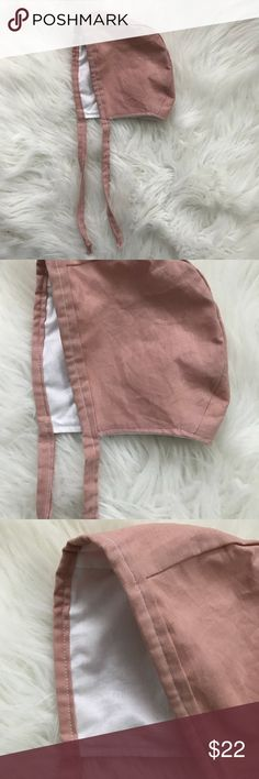 18-24 months NEW blush linen white lining bonnet Size 18-24 months but flexible with sizing New (handmade) Pet free smoke free home  Ships ASAP  Tags: baby bonnet classy trendy fall winter wear Valentine's Day Accessories Hats
