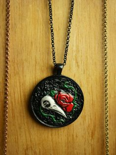 Tooled Leather Raven Skull Pendant Ready to by JosieDybeDesigns