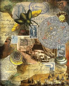 mail art, cut and paste collage done in Nick Bantock style by Land Of Nod Studios Collage Book, Collage Art Mixed Media, Book Art, Collage Design, Art Journal Pages, Art Journals, Art And Illustration, Mail Art, Digital Collage