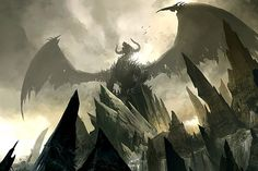 Concept art of a Dragon overlooking his terrain.