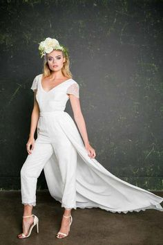 Can't decide between trousers and a skirt for your lesbian wedding? House of Ollichon has you covered with their stunning range of bridal jumpsuits which look amazing with the detachable 'Chung' bridal skirt. Shop the complete collection of bridal separates and bridal jumpsuits now at http://houseofollichon.co.uk/shop #LesbianWedding #SameSexWedding #AlternativeWedding