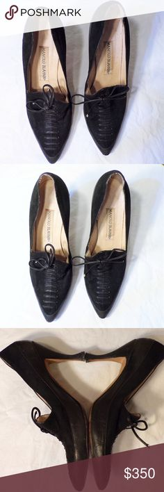 VINTAGE Manolo Blahnik Lace Up Black Court Shoes Vintage. Court shoe style high heels. Black suede. Black lace up detail. Some wear but still in good condition. Pet Friendly + Smoke Free Home. Manolo Blahnik Shoes Heels