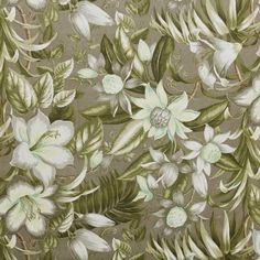Tropical, botanical print in shades of soft green and cream printed on a grey base. Perfect for cushions and curtaining. Width: 140 cm Pattern repeat: 64 cm