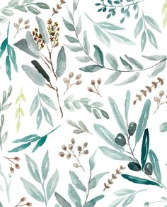 Eucalyptus Watercolor Pattern - iPhone and Android Wallpaper