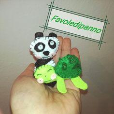 Piccoli animaletti in feltro #Tortoise #panda #favoledipanno