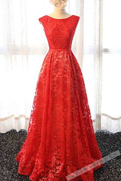 Red lace round neck A-line long prom dress,simple evening dresses
