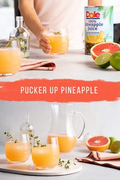Kiss boring dinner drinks goodbye and say 'hello' to Dole's refreshing Pucker Up Pineapple recipe. Winter Drinks, Summer Drinks, Cocktail Drinks, Fun Drinks, Beverages, Cocktails, Dole Pineapple Juice, Pineapple Cocktail, Pineapple Recipes