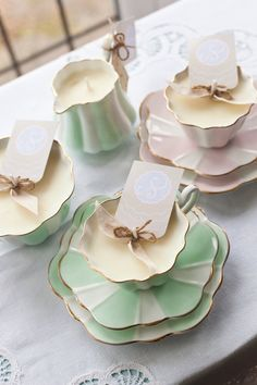Pastel Shades in soft floral fragrances tea cup candles www.serendipitycandles.co.uk