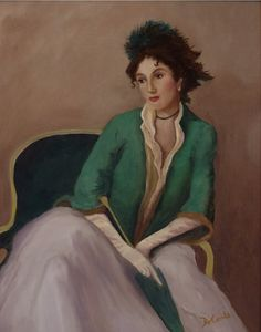 Reproduction of John Singer Sargent painting, oil painting of woman