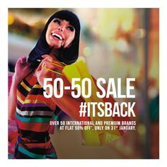 Shop till you drop! Your favourite 50-50 sale is back! Come and get the best with 50% off on international and premium brands tomorrow, 31st January at Phoenix Marketcity Bangalore.