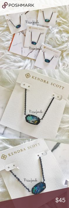 """Kendra Scott Elisa in Gunmetal Abalone Necklace NWOT! *Gunmetal Plated Over Brass *Size: 0.63""""L x 0.38""""W stationary pendant, 15"""" chain with 2"""" extender *Lobster claw closure *Material: abalone shell*  4 available. This listing for 1.  Price is firm! Kendra Scott Jewelry Necklaces"""
