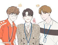 Meanie, Bts Drawings, Kpop Fanart, Pledis Entertainment, Haikyuu, Anime Guys, Seventeen, Kawaii, Fan Art
