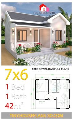 Tiny House Plans 7x6 with One Bedroom Cross Gable Roof - Tiny House Plans Tiny House Plans 7x6 with One Bedroom Cross Gable Roof - Tiny House Plans One Bedroom House Plans, Small House Floor Plans, Cottage House Plans, Craftsman House Plans, Modern House Plans, Tiny Cottage Floor Plans, Small House Plans Under 1000 Sq Ft, Small Home Plans, Tiny Cabin Plans