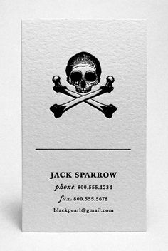 fun little sample business card created by the fine folks at the Mandate Press for Captain Jack Sparrow
