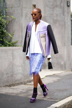 Looking for more Lavender fashion & street style ideas? Check out my board: Lavender Street Style by @aureliansupply Street Style // Purple Fashion // Spring Outfit Street Style - Milan Fashion Week Street Style Spring 2015 - Harper's BAZAAR