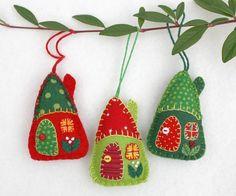 Fieltros adornos de Navidad hecho a mano fieltro casas casas