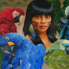 Artista Petterson Silva e suas pinturas da fauna e flora brasileira Brazil Art, Aztec Culture, Madhubani Painting, Indigenous Art, Indian Paintings, Contemporary Paintings, Flora, Painting Inspiration, New Art