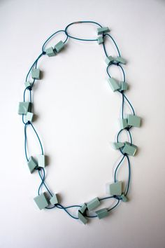Necklace  Porcelain  turquoise/blue  cubs by JulianeBlank on Etsy, €88.00-JULIANE BLANK-DE