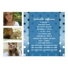 Add Your Picture: Blue Sparkle Party Invitation