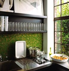 green tile backsplash- We have a winner!!! $1.99 a sheet at Floors and Decor on Colonial Dr.