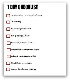 1 day party planning checklist