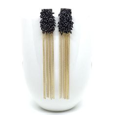 Black-beaded-earrings-gold Gold Drop Earrings, Beaded Earrings, Jewelry Design Earrings, Indian Jewellery Design, Wire Mesh, Handmade Silver, Gold Chains, Silver Jewelry, Black