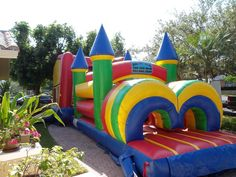 bounce houses huge | Big Bounce House with Obstacle Course #240′L x 16′W x 17′H Big Bounce House, Bounce Houses, Awesome Things, Fun Things, Things That Bounce, Cool Stuff, Princess Room, Baby Princess, Water House