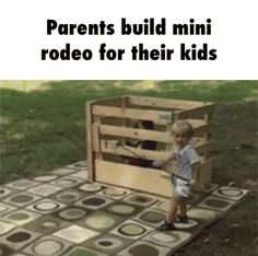 Parents build mini rodeo for their kids GIF