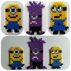 Despicable Me 2 - Minions hama beads by teizu Minions, Pearler Beads, Fuse Beads, Hama Beads Patterns, Beading Patterns, Cute Crafts, Bead Crafts, Pixel Art, Minion Pattern