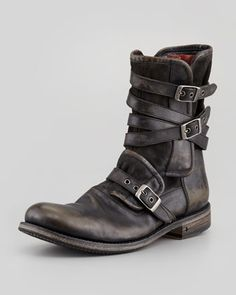 Multi-Strap Buckle Boot, Charcoal by John Varvatos