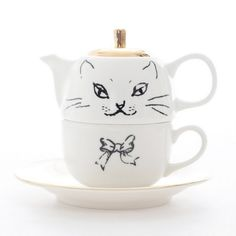 Cat cup + tea pot