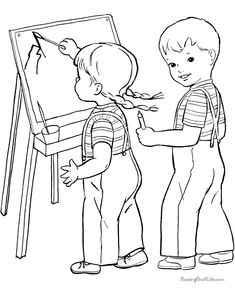 Printable school coloring pages learn to draw, coloring sheets and pictures. School Coloring Pages, Coloring Pages For Boys, Coloring Pages To Print, Coloring Book Pages, Coloring Sheets, Kids Coloring, Art Drawings For Kids, Drawing For Kids, Vintage Coloring Books