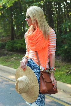 atlantic pacific color summer jcrew skirt stripes neon scarf