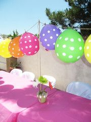 Creatively Quirky at Home: Emelia's Birthday, a Lalaloopsy Pet shop Party! Balloon Decorations Without Helium, Balloon Centerpieces, Diy Party Decorations, Balloon Ideas, Balloon Banner, Polka Dot Balloons, Helium Balloons, Polka Dots, Balloons Galore
